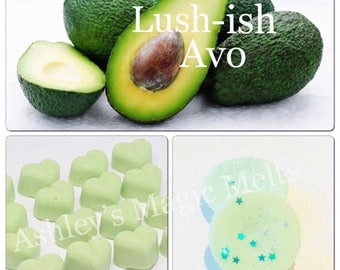 3 avobath lush soy wax melts, designer dupe melts, scented gifts, lush bath bombs, strong wax melts, cheap wax melts