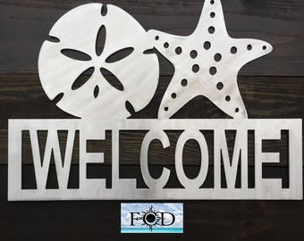 Metal Welcome sign with Sand Dollar and Starfish