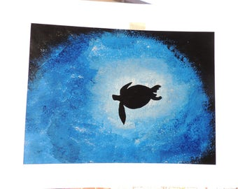 Turtle, Sea, blue, acrylic, summer, leaf, gift idea, handmade, original, black, animals, nature, photography, background, creativity
