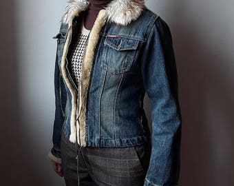 Jeans Jacket with inner syntetic  fur  and leather  laces overture
