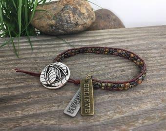 Old World Style bead wrap bracelet/Leather Wrap Bracelet/Boho Bracelet/Boho Wrap Bracelet/Wrap Bracelet