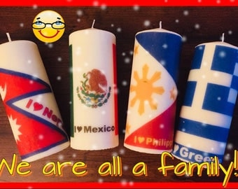Flags Custom Pillar Candles Hand Decorated