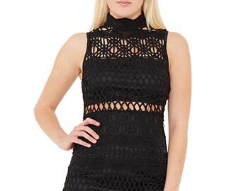 Black Net Zip Back Dress