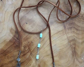 Blue opal and Sterling tassel lariat