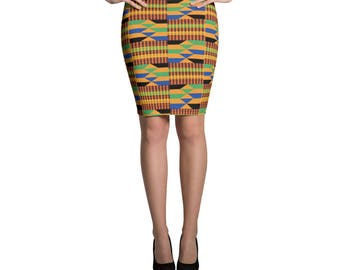 Kente Pencil Skirt