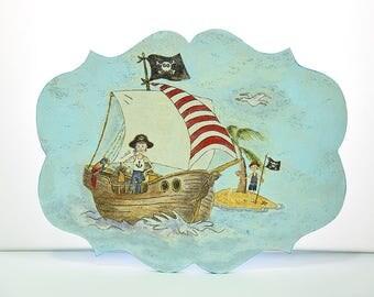 Decorative signs-birthday-boy-wood-mdf-gift-acrylic colors-hand painting-handmade-pirate-island-sea-boat-decoupage