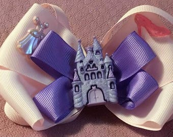 Fancy Bow, Stacked Boutique, Pink and Purple Bow, Princess Bow, Boutique Bow, girls barrette, layered over the top, Princess Gown, Castle