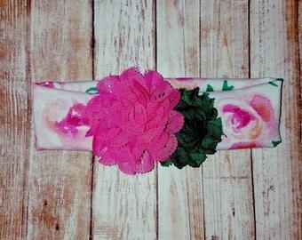 Pink and green flower headband, flower headband, baby headband, toddler headband, spring headband, headbands
