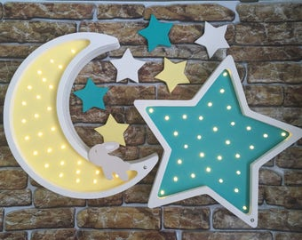 "Nightlights ""Moon with rabbit and Star"""
