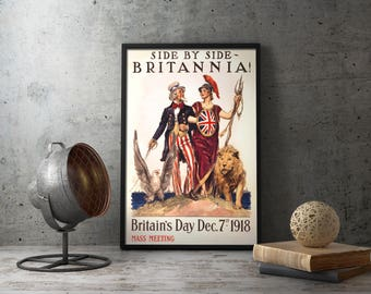Printable Wall Art - WW1 Poster BRITANNIA Britain's Day 1918 Mass Meeting, wwi propaganda, ww1 propaganda, wwi poster, britains day, war art