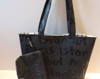 "Faux leather tote bag ""Travel"" and its case"