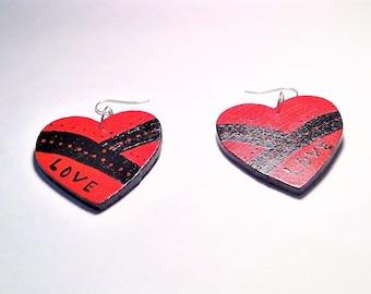 Red & Black Painted Wood Heart Love Earrings