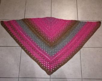 Pink/Brown/gray wool shawl