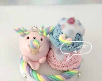 Monogram Customized Kawaii Pastel Jewelelry Holder, Miniature Pink Axolotl and Rainbow Ice cream