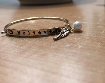 Believe Bracelet with Angel Wing & Pearl