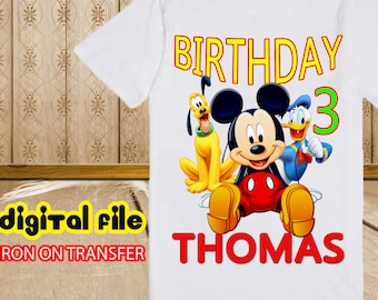 Mickey Mouse Iron On Transfer Birthday Shirt, Mickey Iron On Transfer, Mickey Mouse Birthday Boy Iron On Transfer, Personalize