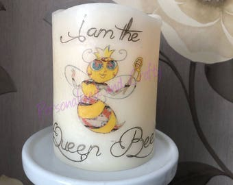 Queen Bee candle/flameless candle/led candle/Bee lover gift/great Bee candle/handmade candle/handmade gift/decoupage gift