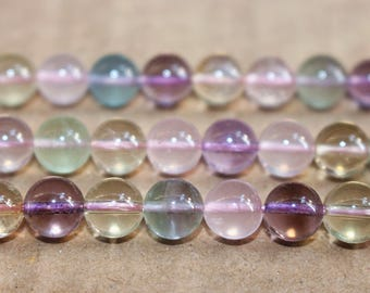 8mm Natural Rainbow Multicolor Crystal Quartz smooth round beads,loose beads,semi-precious stone,15 Inches Full strand