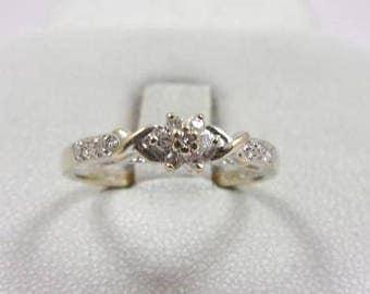 Solid 14K White Gold 0.11 Carat Diamond Ring, Size 6.5, 2.0 grams