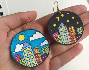 Day + Night Cityscape Earrings