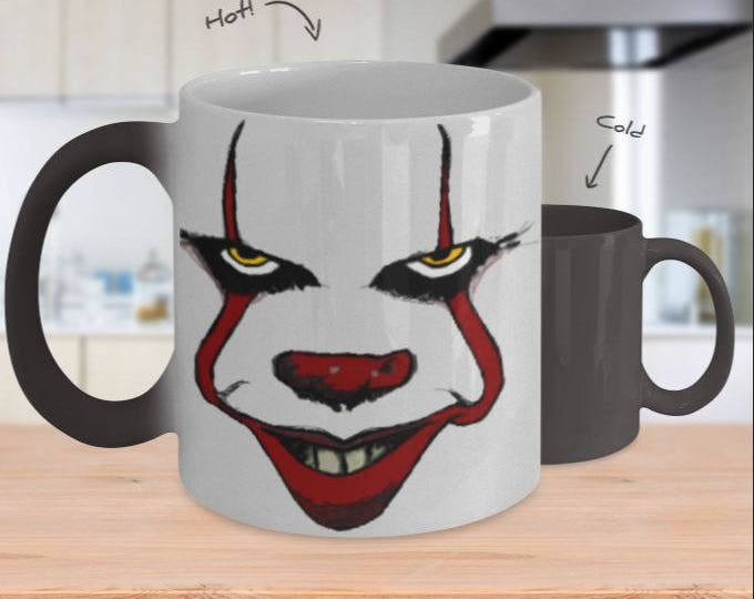 Color Changing Mug, Pennywise Artist Rendition Mug, Scary Clown Cup, Movie Satire, Parody, Great Gift Idea