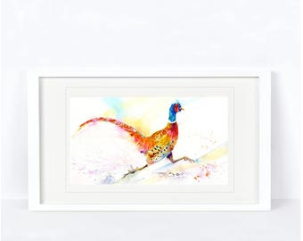 Legging It - Pheasant Print. Printed from an Original Sheila Gill Watercolour. Fine Art, Giclee Print, Hand Painted,Home Decor
