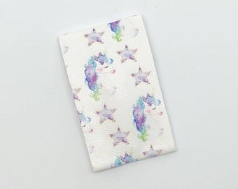 Watercolor Unicorn Flat Snap Clip - Faux Leather - Snap Clips - 50mm Clips -
