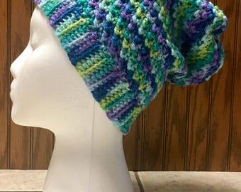 "Women's/Small Crochet ""Alabaster Slouch"" Beanie/Hat"
