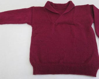 Knitted burgundy red boys sweater with shawl collar
