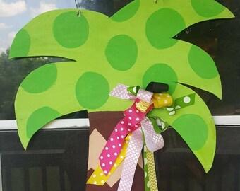 Palm tree burlap or wooden door hanger