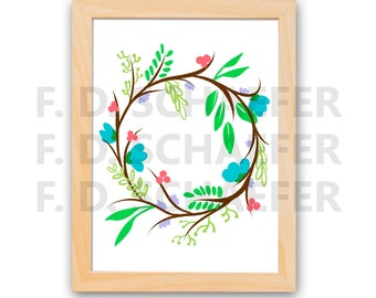 Floral Wreath Print