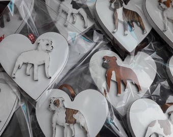 Personalised Staffordshire Bull Terrier Heart/Decoration/ Pet Memorial