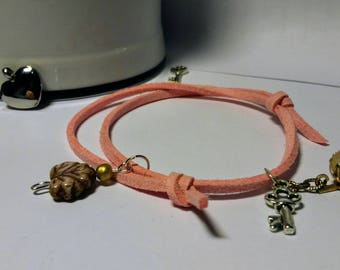 ELEANOR: Adjustable Bracelet, pink suede, key and bead charms