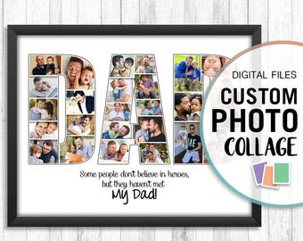 Dad Photo Collage, Personalized Dad Gifts, Dad Photo Gift, Custom Photo Collage, Digital Photo Collage Art, Collage Art Print, Collage Gift