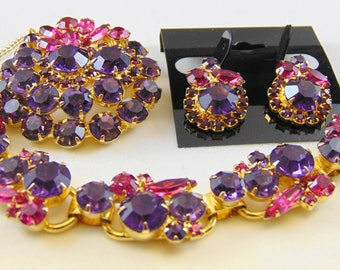 DeLizza and Elster D&E Juliana Cardinal Purple and Fuchsia Demi Parure-Bracelet, Brooch and Earrings Set