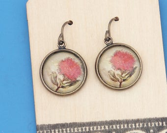 New Zealand Pohutukawa flowers, vintage art print, Earrings, glass dome art, niobium hypo-allergenic