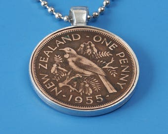 New Zealand Penny Pendant, choose your year, pewter coin pendant, stainless steel chain, anniversary gift, birthday gift, personalized