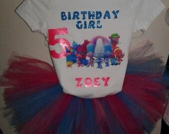 Trolls themed birthday party/Trolls Movie birthday outift/ Disney Trolls inspired party/ Trolls birthday tutu outfit