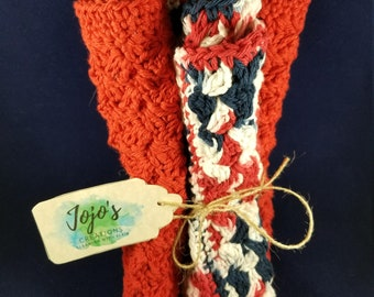 Kitchen dishcloths, patriotic dishcloths, crochet washcloths, crochet dishcloths, cotton dishcloths
