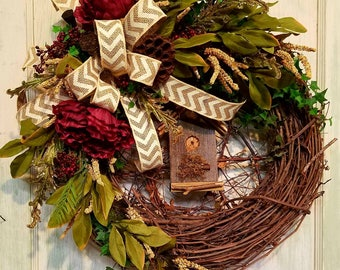 grapevine wreath,peony wreath,rustic wreath,everyday wreath,year round wreath,farmhouse wreath, birdhouse wreath, burgundy flower wreath