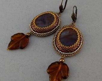 Earrings//Brown Jasper//Copper//Bronze//Autumn Leaves//Free Shipping