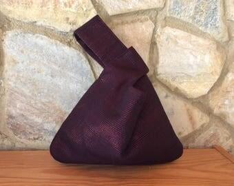 Japanese Knot Handbag in Black with Red Metallic