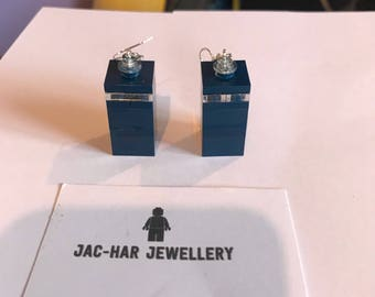 Dr Who Tardis Genuine Lego droop Earrings