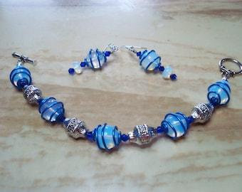 Blue glass wired wrapped Bracelet/Earring set