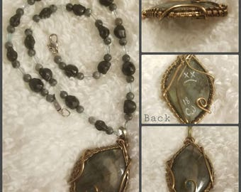 Labradorite wire wrap w/ necklace