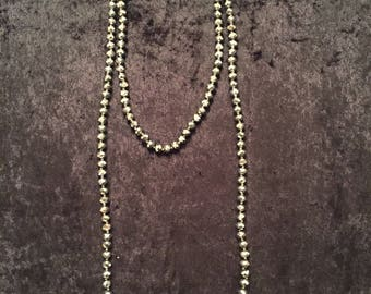 Gray/silver beaded long necklace