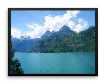 "Framed Serene Landscape ""Vibrant Lake"" by Malinee Ganahl. Fine Art Lustre Print. Calm, Blue Lake surrounded by Hills.  Digital watercolor."