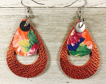 Leather earrings, Bold earrings, Drop earrings, Teardrop earrings
