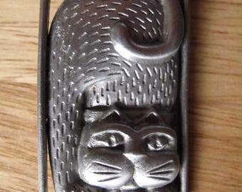 Kitty Cat JJ Brooch Pewter Like New condition