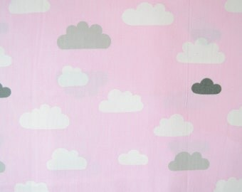 100% cotton-pink fabric with white and grey clouds